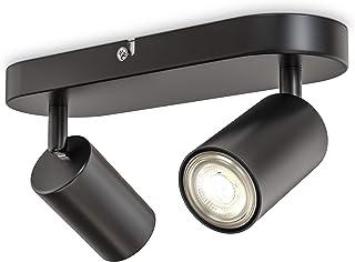 B.K.Licht I Lámpara de 2 llamas I giratoria I rotativa I GU10 I negro-mate I sin bombilla
