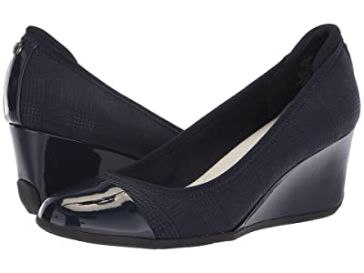 Anne Klein Sport Taite Wedge Heel (Navy) Women