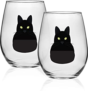 Circleware 15508 Black Cat Stemless Wine Glasses, Set of 2, Home & Kitchen Funny Party Entertainment Dining Glassware for Water, Beer, Juice, Ice Tea, Whiskey Bar Beverage Cup Gifts, 18.9 oz