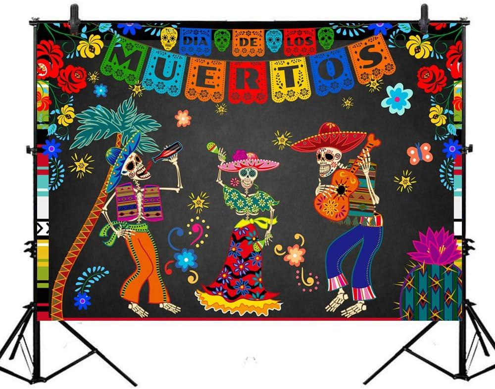 Avezano Day of The Dead Backdrop Mexican Fiesta Sugar Skull Photography Background 7x5ft Vinyl Dia DE Los Muertos Dress-up Birthday Party Backdrops