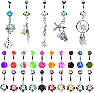 small dainty belly button rings
