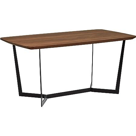 Marque Amazon - Rivet, Table à manger modèle guéridon, style industriel, largeur 160 cm, finition noyer