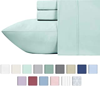 600-Thread-Count 100% Cotton Sateen Sheets King Size Set - 4-Piece Spa Blue Hotel Style Supreme bedding Sheets for Bed, Fits Mattress Upto 18'' Deep Pocket, Breathable, Cooling & Luxury Comfy Sheets