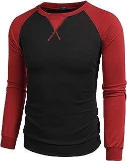 Zeagoo Men's Plain Raglan Baseball Shirts Unisex Casual Henley T Shirt Tee