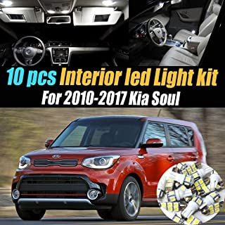 10Pc Super White 6000k Car Interior LED Light Kit Package Compatible for 2010-2017 Kia Soul