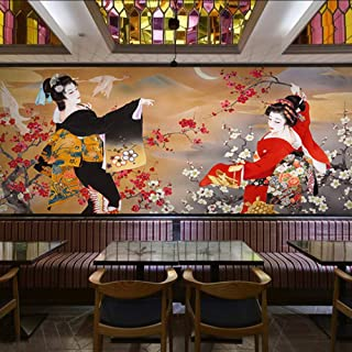 Dalxsh 3D Photo Wallpaper Custom 3D Japanese Retro Figures Wallpaper Mural Sushi Shop Hot Pot Themed Restaurant Mural-200X140Cm