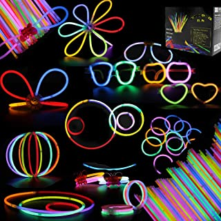 Glow Sticks, 268Pcs BUDI Glow Party Favors for Kids/Adults: 100 Glowsticks 7 Colors& Multi-Connectors for Glow Necklace, Flower Balls, Luminous/Apple/Heart Glasses and Triple/Butterfly Bracelets
