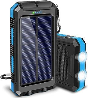 شارژر خورشیدی ، F.Dorla 20000mAh قابل حمل در فضای باز ضد آب خورشیدی پاور بانک ، کمپینگ پشتیبان گیری باتری پشتیبان خارجی دو درگاه خروجی 5 ولت USB ، چراغ قوه 2 لایت با قطب نما برای iOS Android (آبی)