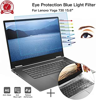 CaseBuy Anti-Glare Screen Protector Eye Protection Blue Light Filter for Lenovo Yoga 730 2-in-1 15.6 Inch & Ultra Thin TPU Keyboard Cover Accessories for Yoga 730 15.6