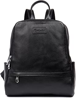 BOSTANTEN Women Leather Backpack Purse Satchel Shoulder School Bags for College Black Medium
