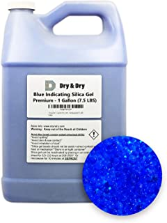 """Dry & Dry"""" (1 Gallon Premium Silica Gel Blue Indicating(Blue to Pink) Silica Gel Beads Desiccant Beads(Industry Standard 2-4 mm) - Rechargeable(7.5 LBS) Moisture Absorber Silica Gel"""