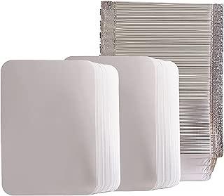 Aluminum Oblong Foil Pans | Disposable Pan Containers & Board Lids Set | 8.4 X 5.9 Inch Steam Table Pans | 2.25 Pounds Capacity | 100 Count