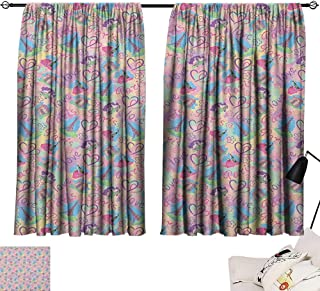 Michaeal Modern Night Darkening Curtains Vintage Retro Paris French Design with Landmarks and Florals Art Curtain for Living Room Pale Pink and Pale Blue W63 x L63