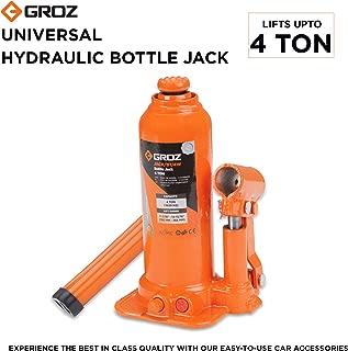 Groz 4 Ton Premium Hydraulic Bottle Jack with Advanced Load Limiting Device | Portable, Leak-proof, Durable | For Cars, Taxis, Mini Trucks, MUVs, SUVs, LCVs, etc.| JACK/BT/4W