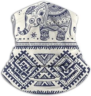 Microfiber Neck Warmer Elephant India Retro Neck Gaiter Tube Ear Warmer Headband Scarf Face Mask Balaclava Black