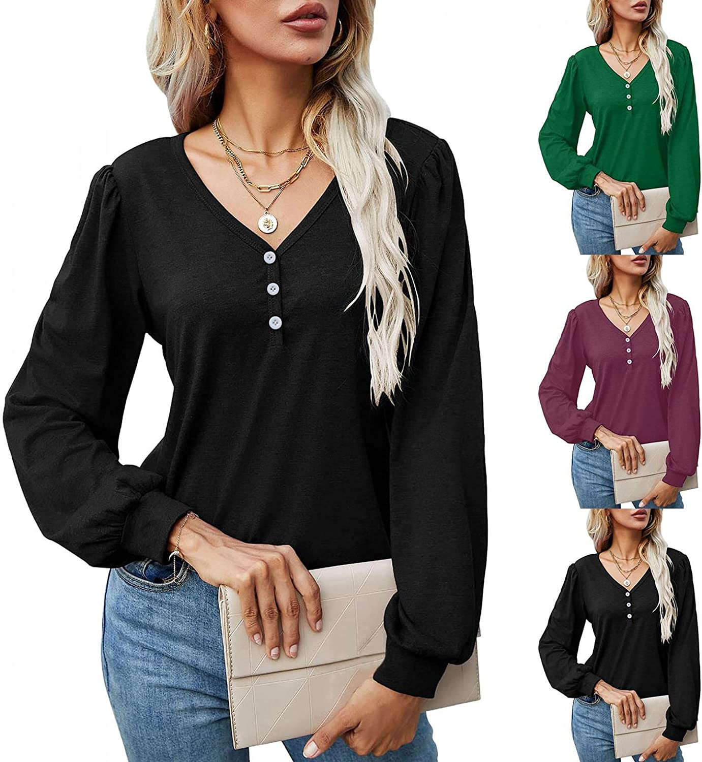lucyouth Womens Puff Long Sleeve Tunic Tops Button Up Flowy Casual Solid Basic Fall Loose Fit V Neck T Shirt Blouse