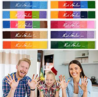 WOWOSS 10 Piezas Almohadillas de Tinta para Niños No Tóxico Lavable, Almohadillas de Tinta de 30 Colores para Sellos y las Pinturas del Dedo