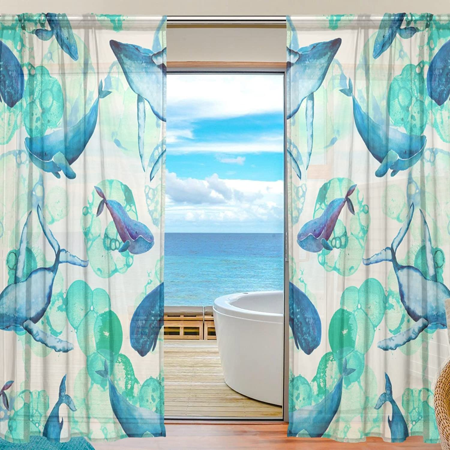 Vantaso Sheer Curtains 78 inch bluee Dolphin Green for Kids Girls Bedroom Living Room Window Decorative 2 Panels