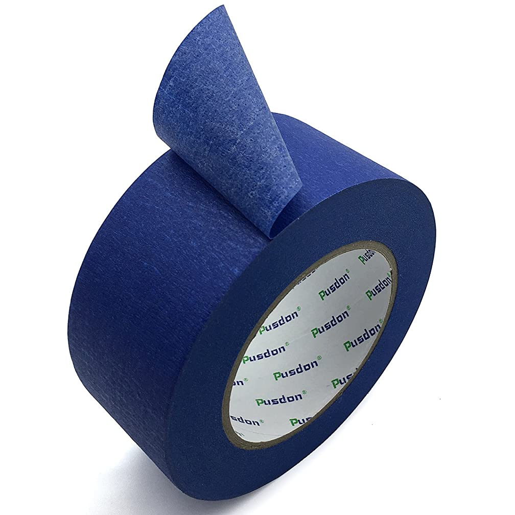 Pusdon Masking Painter's Tape Blue, 2-Inch x 60 Yards, Wall Painting Large Roll for Sharp Lines, Prevents Paint Bleeding Painter Tape