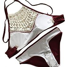 Fashion Women's Lace Up Splicing Halter Padded Tank Bikini Set