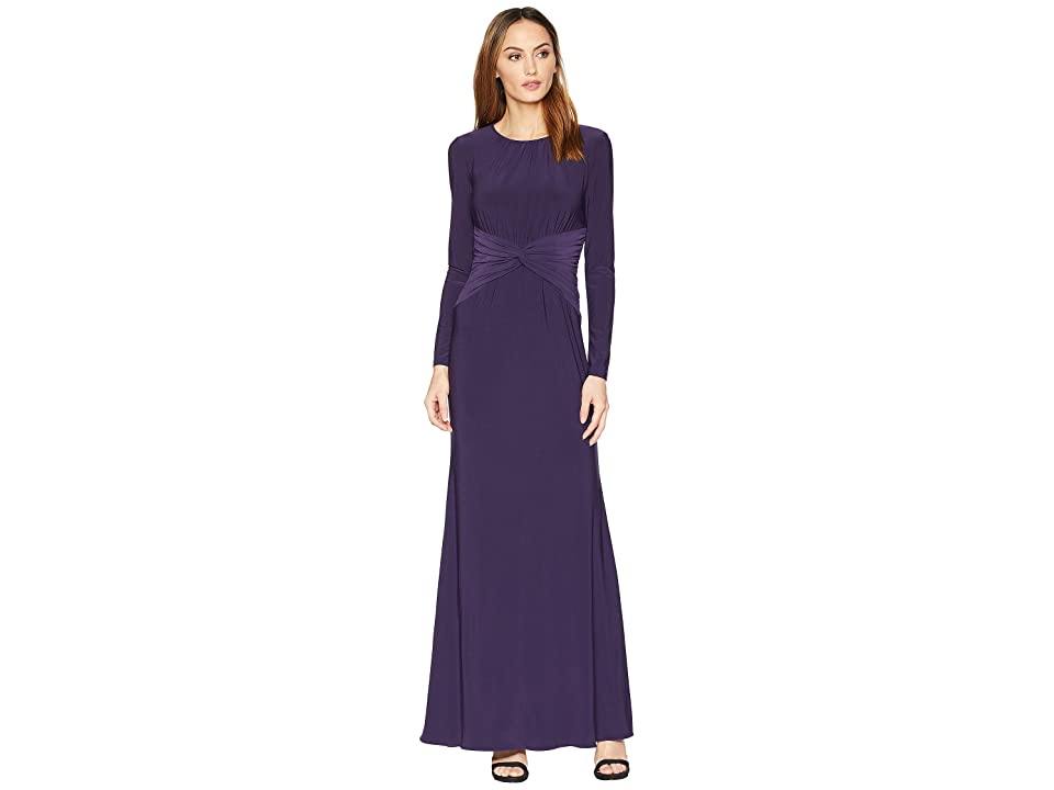 Adrianna Papell Long Jersey Dress (Aubergine) Women