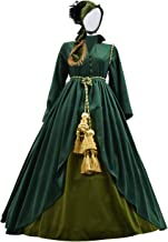 Dahee Women Halloween Renaissance Medieval Costume Classic Movie Scarlett O'Hara Cosplay Maxi Gown Dress