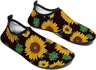 VJTEAM أحذية المياه بير فوت سريعة الجفاف أكوا جوارب اليوغا الرياضة الشاطئ سهلة الارتداء للرجال النساء زهرة عباد الشمس