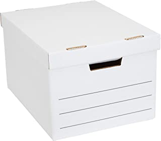 Amazon Basics Heavy Duty Storage Filing Box with Lift-Off Lid - Pack of 12, Letter / Legal Size