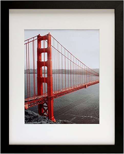 Frametory 11x14 Black Picture Frames Made To Display Pictures 8x10 With Mat Or 11x14 Without Mat Wide Molding Pre Installed Wall Mounting Hardware