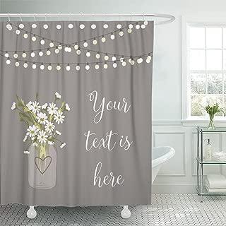 Emvency Shower Curtain Light Daisy Mason Jar Flower Wedding Garden Party Bulb Waterproof Polyester Fabric 72 x 72 Inches Set with Hooks