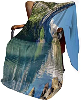 SfeatrutMAT Flannel Microfiber Throw Blanket,Lake House Decor,Lake Louise in Banff National Park Canada Lakeside Rocks Clear Water Scenic Picture,Blanket for Baby 30x40inch