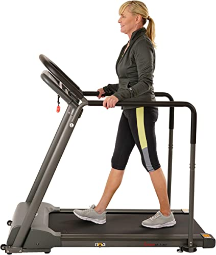 Sunny Health & Fitness Walking Treadmill with Low Wide Deck and Multi-Grip Handrails for Balance, 295 LB Max Weight -...