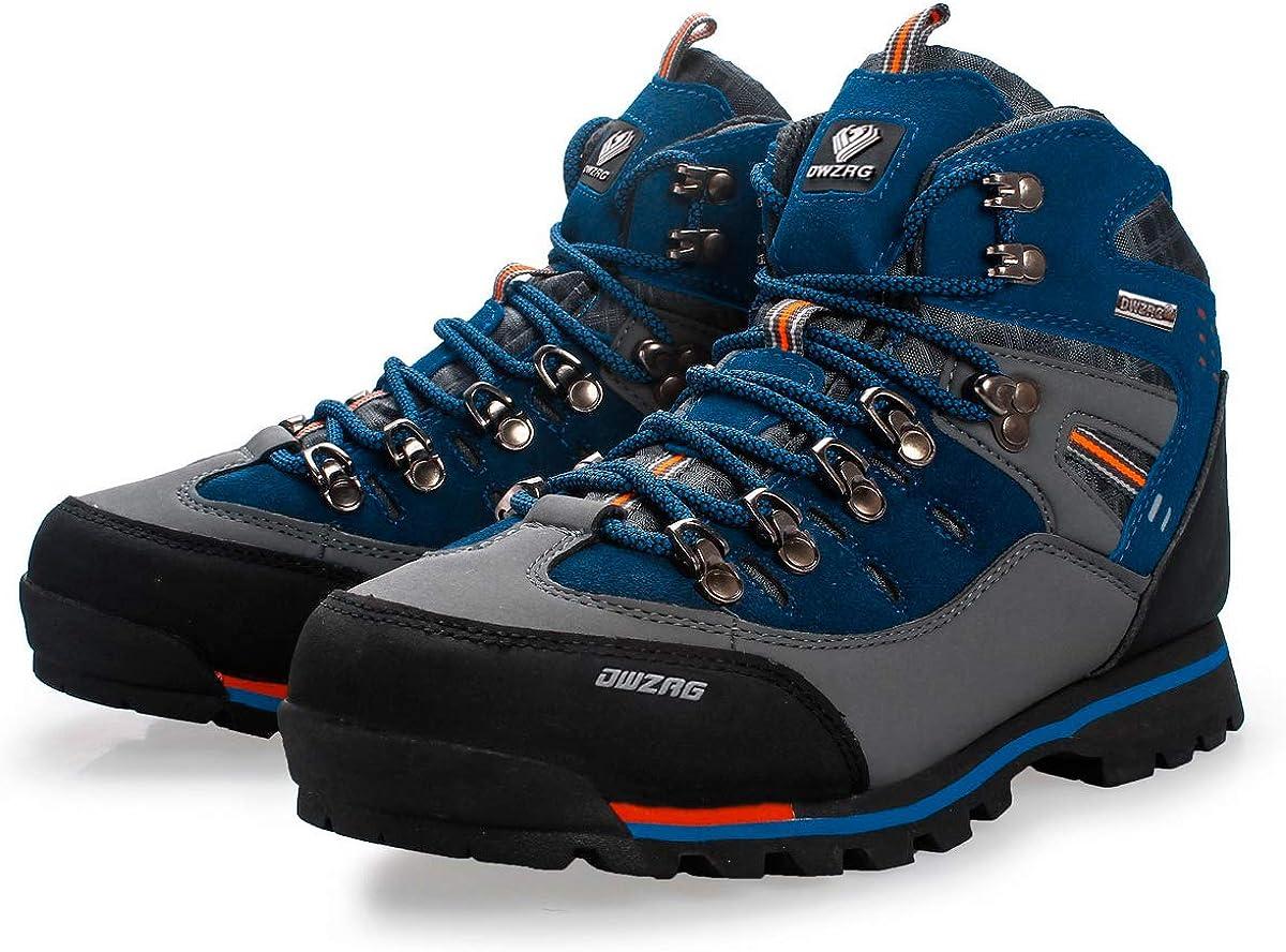 DWZRG Mens Waterproof Leather mid Hiking Boots Outdoor Non-Slip Lightweight Trekking Sneakers