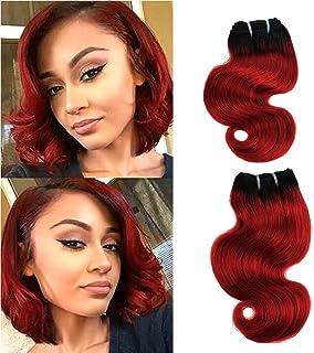 "FASHION LINE 8"" Human Hair Bundles Ombre Two Tone Brazilian Virgin Hair Extensions Body Wave (4 bundles, 1b/red)"