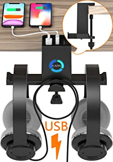 RGB Headphone Stand Hanger with USB C Charger, KAFRI Under Desk Dual Headset Holder Earphone Hook Mount Rack with 3 USB Ch...