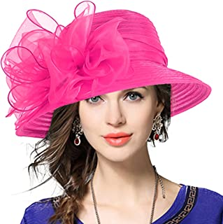 a71f47f4505 VECRY Lady Derby Dress Church Cloche Hat Bow Bucket Wedding Bowler Hats