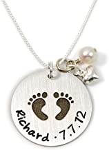 Baby Footprint Personalized Sterling Silver Name Necklace. Customize with Child's Name, Date or Special Wording, Engraved with Solid Baby Feet. Choice of Sterling Silver Chain. Gifts for Her, New Mom