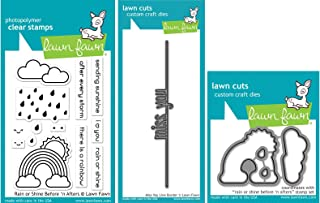 مجموعة أختام وقالب مكتوب عليها Lawn Fawn - Rain or Shine Before 'n After Clear مع Miss You Line Border Die - 3 قطع