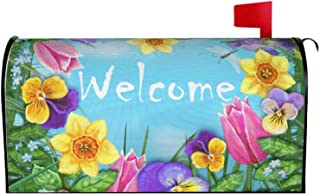 Abucaky Spring Summer Season Welcome Mailbox Cover Magnetic Waterproof Flowers Grass Butterflies Mailbox Wraps Post Letter...