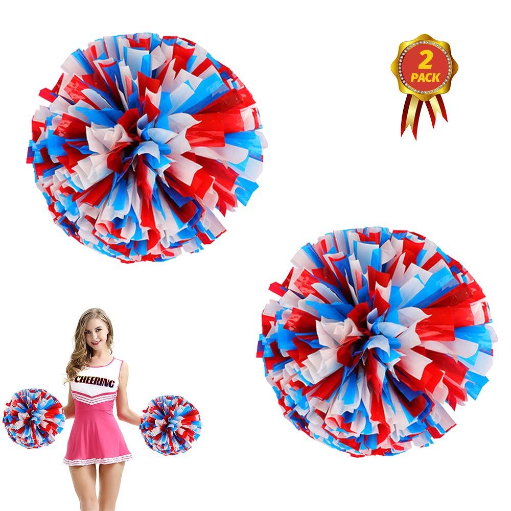 AUHOTA 2 Piezas Cheerleading Pompones de Animadora Pomp/ón Pl/ástico de Animadora para Equipo de Deporte Animador de Esp/íritu Bola Danza Lujoso Vestido Noche Partido 6 Pulgada