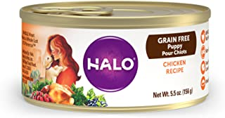 Halo Grain Free Natural Wet Dog Food, Puppy Chicken Recipe, 5.5-Ounce Can (Pack Of 12)