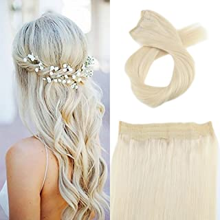 Moresoo Invisible Headline Real Hair Extension 16 Inch Remy Hair Extensions Blonde Halo Human Hair 80 Grams Wired Hair Extensions Double Weft Platinum Blonde #60