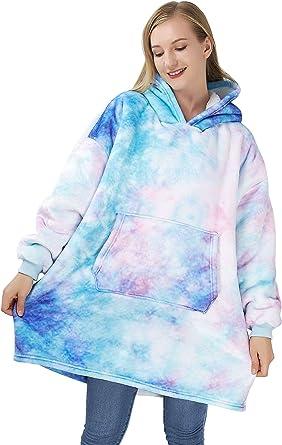 ALISISTER Oversized Hoodie Blanket Mens Women Adults Comfy Warm Wearable Sweatshirt Blanket Ultra Soft Sherpa Fleece Giant Hoody With Big Pockets