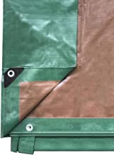 Premium Heavy Duty Multi-Purpose Waterproof Poly Tarp Cover, Reversible, Green and Brown, 20 ft x 40 ft