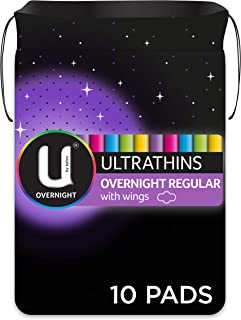 U BY KOTEX Maxi's U By Kotex Extra Overnight Pads with Wings (Pack of 10), Pack of 10 0.183 kilograms