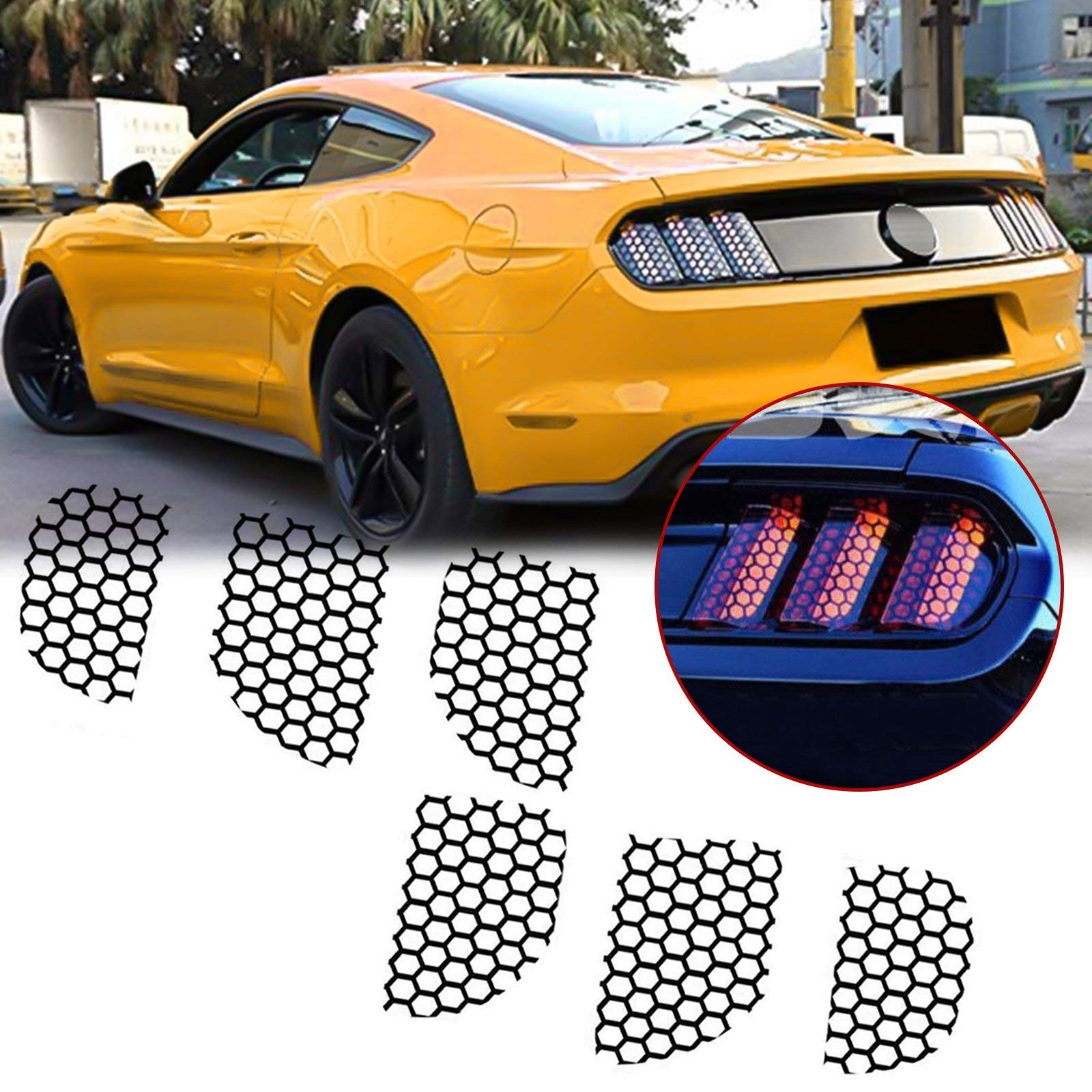 X AUTOHAUX 1 Set Car Rear Tail Light Lamp Stickers Honeycomb Type Decal Yellow for Ford Mustang 2015-2017