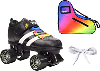 Riedell Volt Quad Derby Speed Roller Skate 3 Pc Rainbow Bundle with Bag!