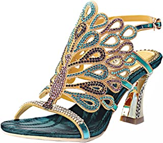 Honeystore Women's Rhinestone Peacock Patterned Handmade Sandals with Chunky Heel
