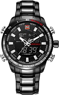 NAVIFORCE Full Black Analog- Digital,Day,Date, Month, Stopwatch Stainless Steel Watch for Men NF9093- By LexXiv®