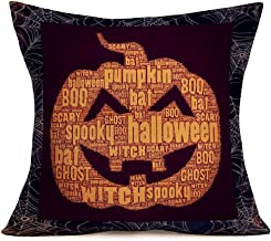 Fukeen Halloween Decor Pillow Covers Vintage SpiderWeb Frame with Scary Pumpkin Pattern Throw Pillow Cases Cotton Linen 18x18 Inch Home Cushion Cover Bat Boo Spooky Ghost Quote